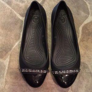 Croc bejeweled flats, size 9